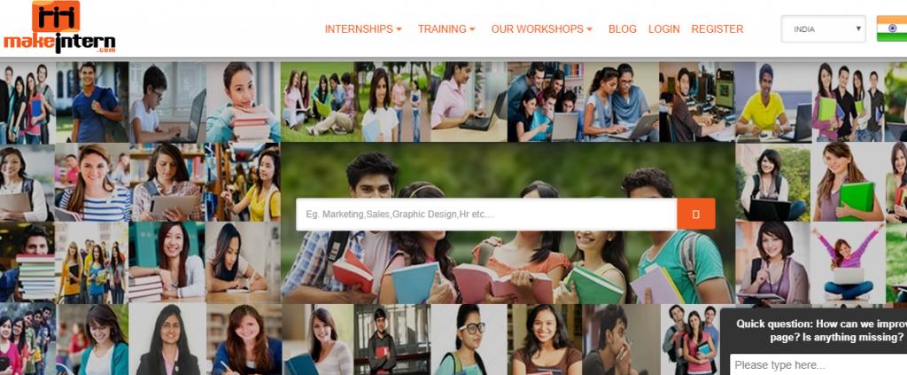 http://www.makeintern.com/  - 5 best websites for finding Internship