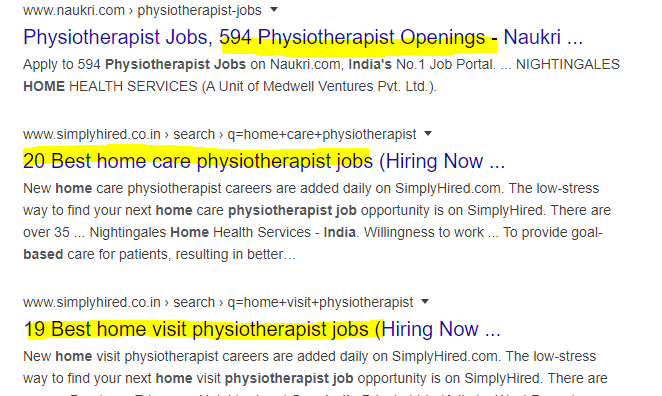 Home based Physiotherapist jobs