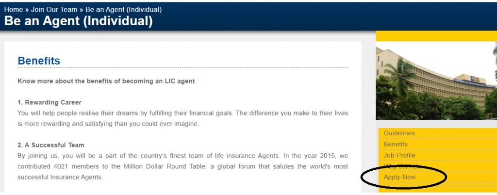 Apply for LIC Agent online
