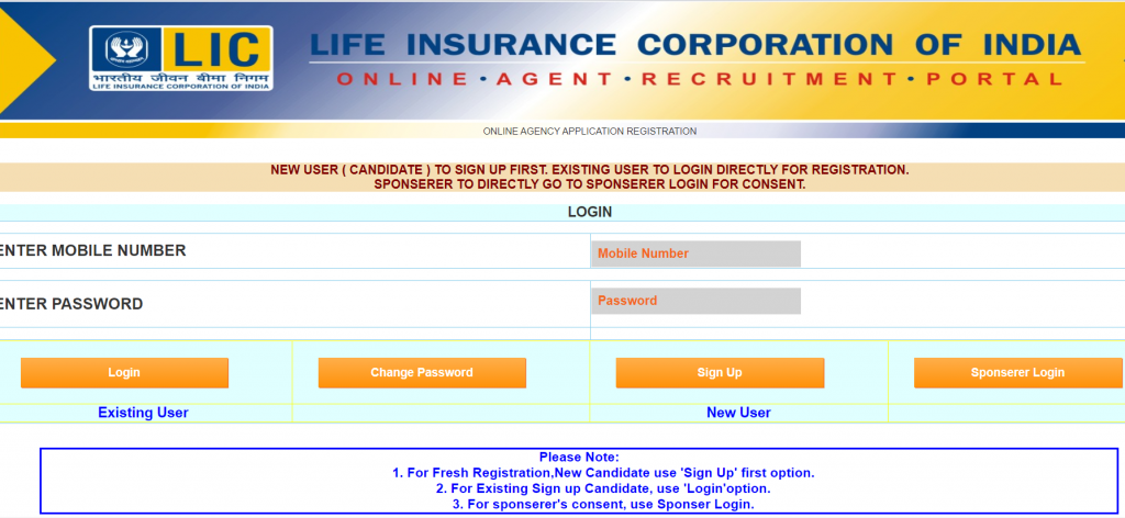 Apply online for LIC agent Licindia